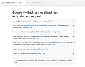 Google My Business local business reinstatement request checklist