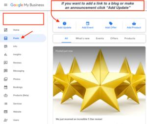 Google Post interface