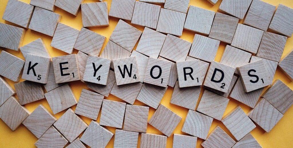 keywords spelled in Scrabble pieces